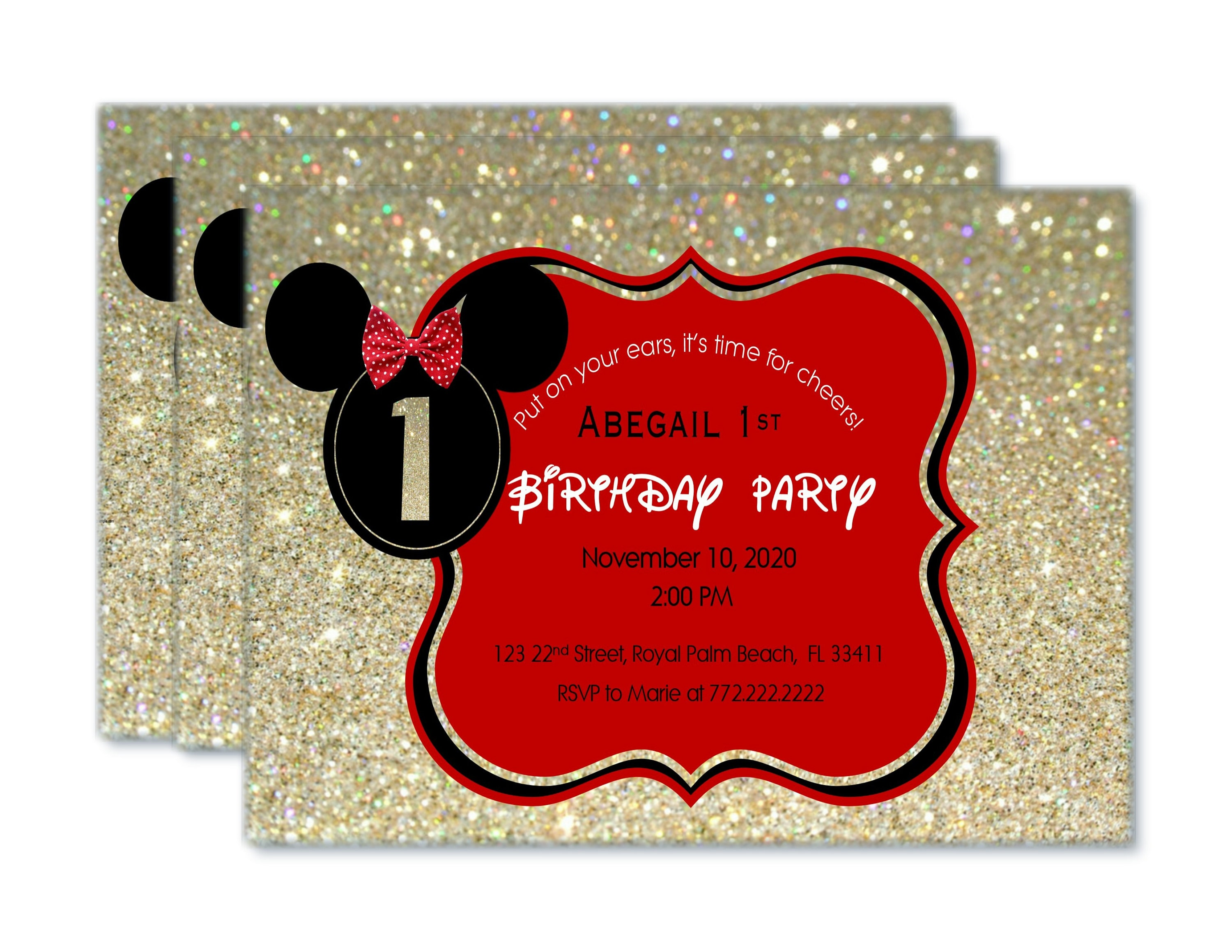 Red Black And Gold Minnie Birthday Invitations Oh Toodles Invite Two Dles GlitterRed Mouse