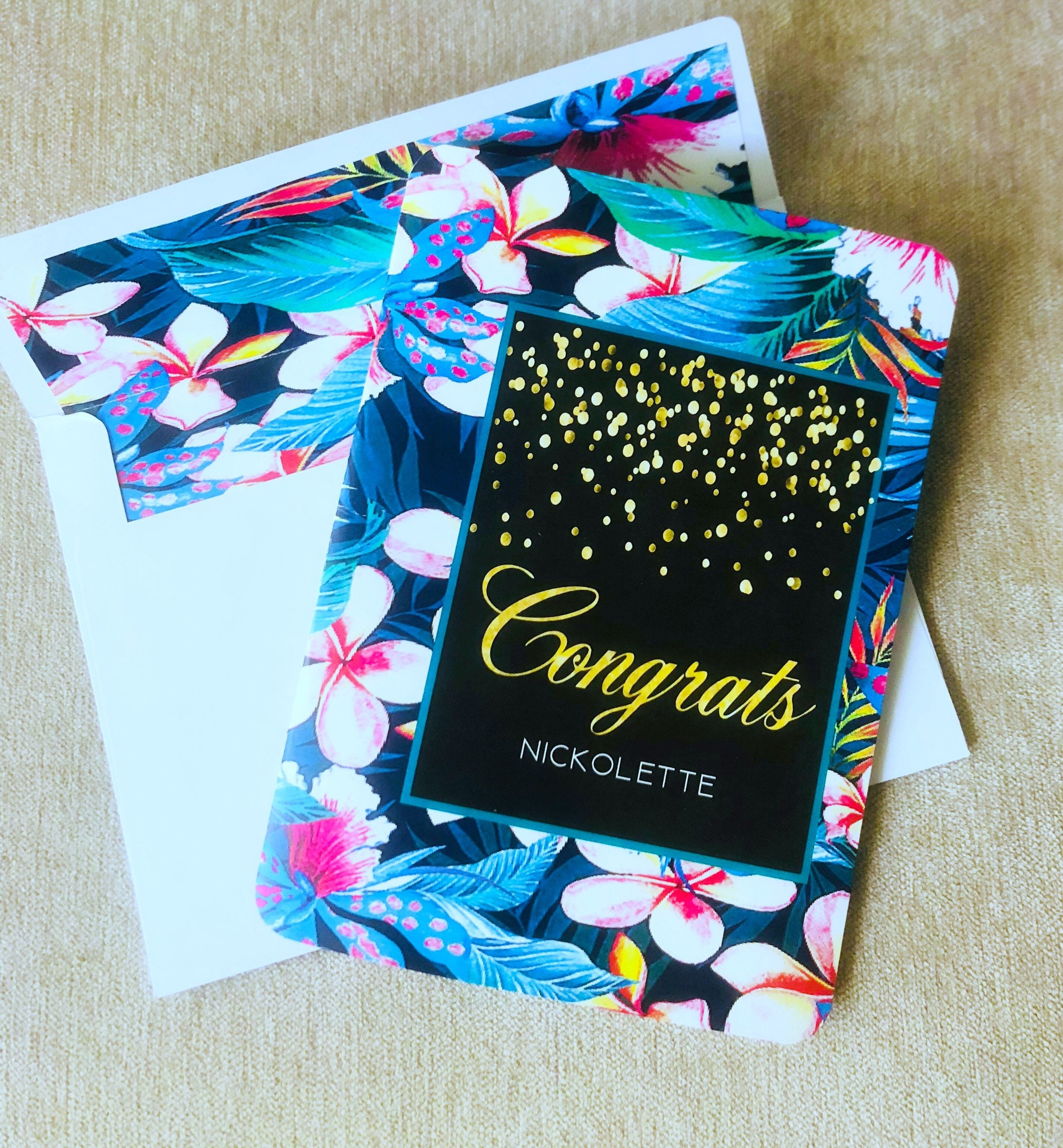 Floral customizable greeting cards with lined matching envelope m4hsunfo