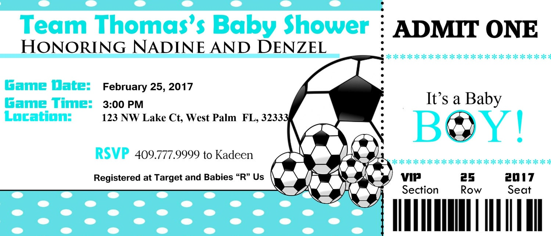 Soccer Baby Shower Ticket Invitation,Matching Diaper raffle ticket ...