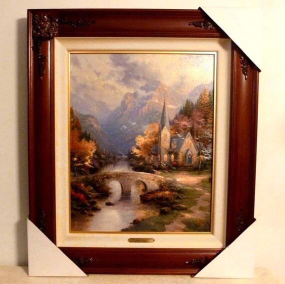 New Thomas Kinkade The Mountain Chapel Lithograph On Canvas Etsy