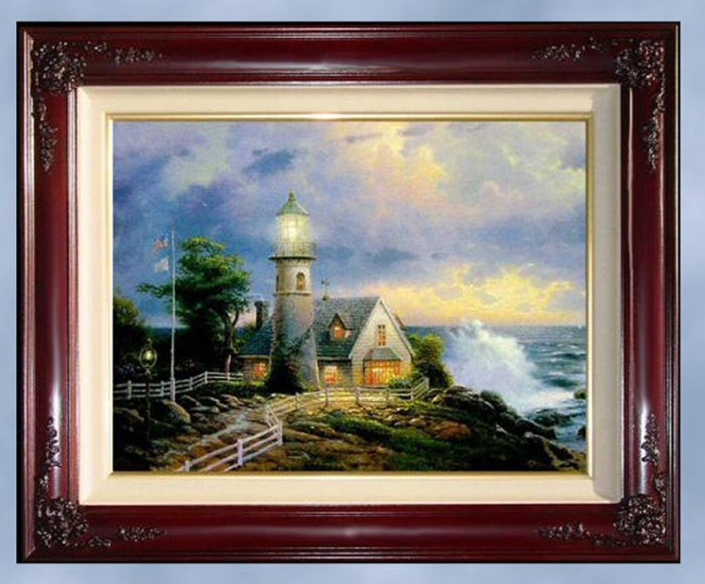 New Thomas Kinkade A LIGHT In The STORM Lighthouse, Seaside Memories,  Additionally Highlighted, 20x24 lithograph on canvas, brandy frame