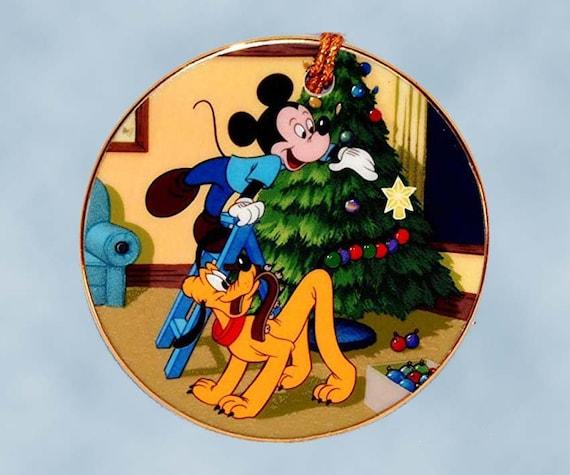 Plutos Christmas Tree.New Wdcc Pluto S Christmas Tree Disc Ornament 41113 Walt Disney Classics Porcelain Original Box Never Displayed