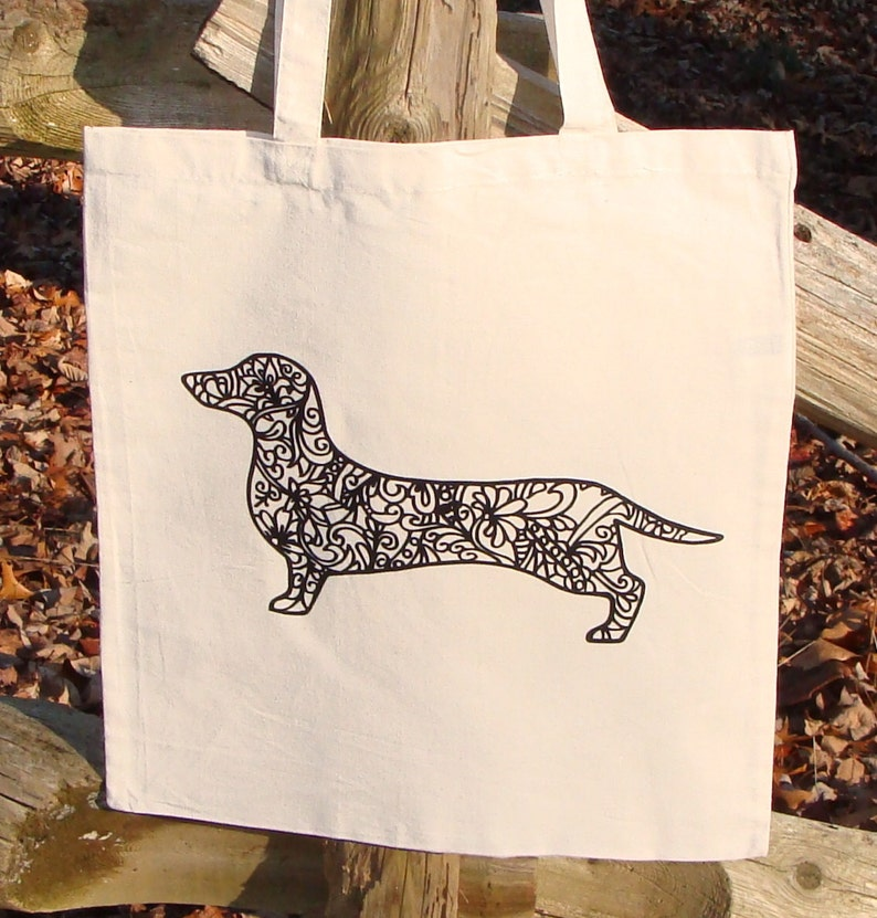 Dachshund Dog Tote Bag Market Bag Zendoodle Doxie Puppy Adult Coloring Book Bag Graphic READY To COLOR Great Holiday Gift Party Favor
