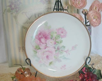 Cabbage Roses Hand Painted Porcelain Plate, C.T. Altwasser Germany, Cottage, Shabby Chic
