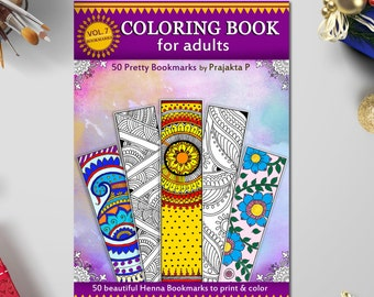 Printable Bookmarks Adult coloring book, Bookmarks coloring, 50 printable bookmarks, Zentangle Bookmark, coloring bookmarks, easy gifts