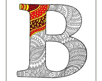 Zentangle alphabet coloring pages