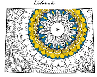 Adult Coloring Page Michigan Map USA Maps Pages For Adults Zentangle Mindfulness Patriotic Printable Art