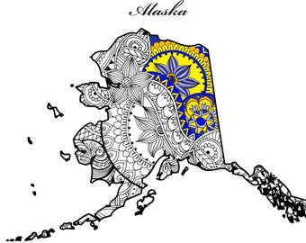 Alaska Map Adult Coloring Page USA Printable Pages Patriotic Art July 4th Gifts Henna