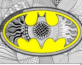 Adult Coloring Page Batman Superhero Pages Printable Men Gift Zentangle Doodle