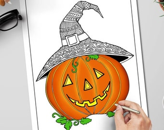 Pumpkin Tree Coloring Page Instant Download Adult Coloring Etsy
