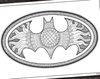 Adult Coloring Page Pages For Adults Printable Batman Zentangle Superhero Men Gift Diy