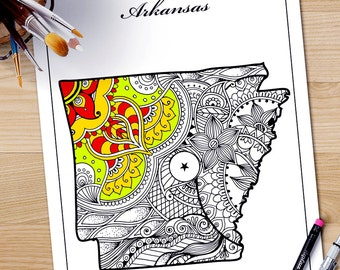Arkansas State Map Adult Coloring Page Printable July 4th Art Zentangle Pages Download