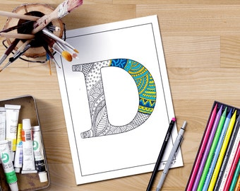 Zentangle Alphabet Coloring Page Letter D To Color For Adults Printable Henna Doodle Instant Download Peintable Gifts Diy Gift