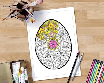 Easter Egg Mandala Coloring Pages For Adults Zentangle Easter Etsy