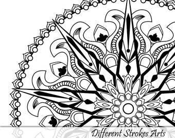 Adult Coloring Book Page Printable Mandala Flower Art Etsy