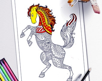 Adult Coloring Book Page Stress Relieving Animal Designs Pages Animalsprintable Horse Zentangle Diy