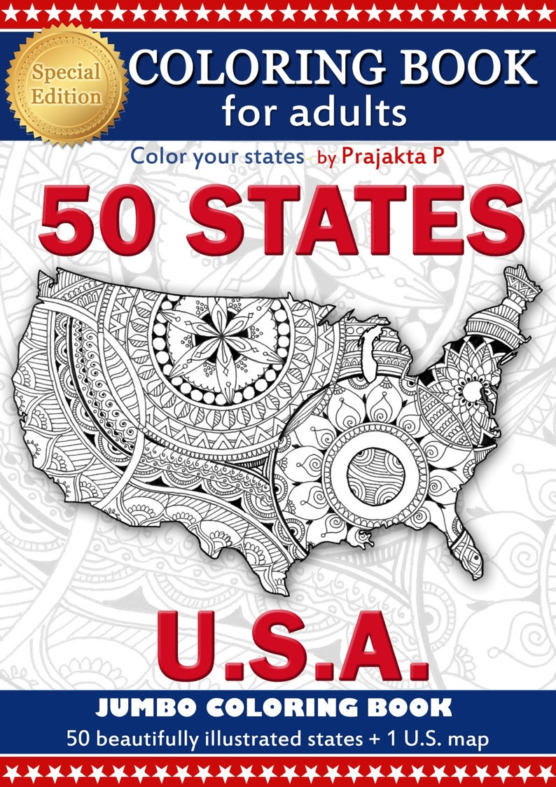 Adult Coloring Book Us Maps All 50 States Patriotic Etsy
