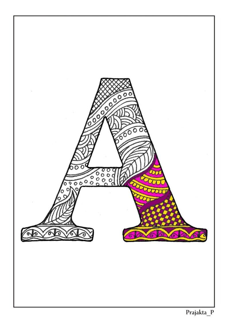 zentangle alfabet a digitale kleurplaat letter a volwassen