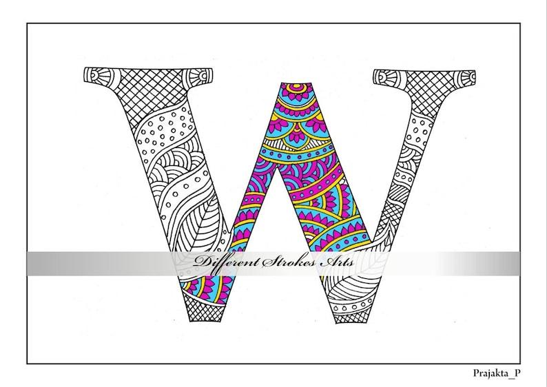 erwachsene malvorlagen zentangle alphabet w zum ausdrucken