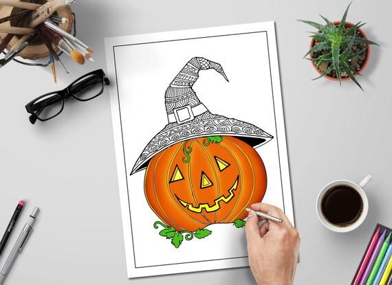 Halloween Färbung Seiten Süße Kürbis Zentangle Kürbis Etsy