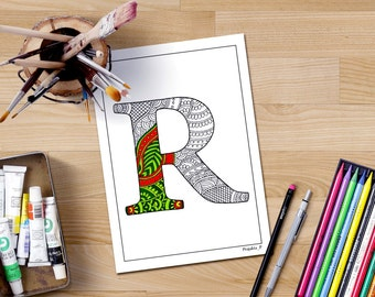 letter R coloring page, printable coloring pages, coloring book for adults, zentangle alphabet, personalized coloring,letter illustrations