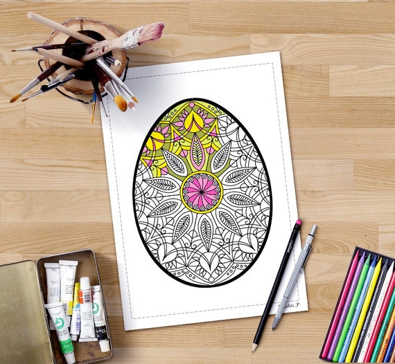 Easter Adult Coloring Pages Adult Easter Colouring In Etsy