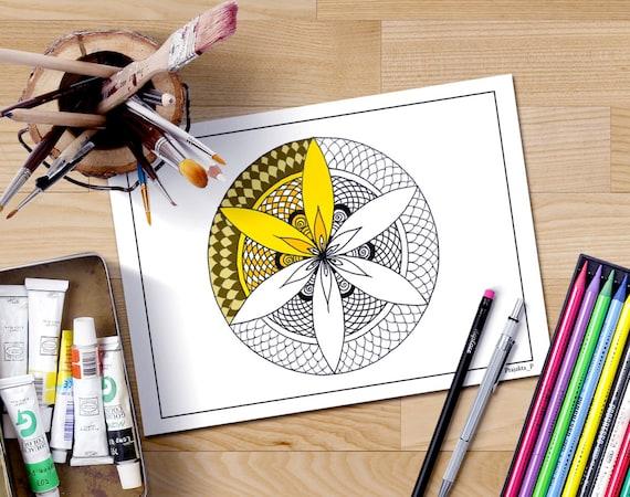 Mandala para colorear página para adultos mandala flor de   Etsy