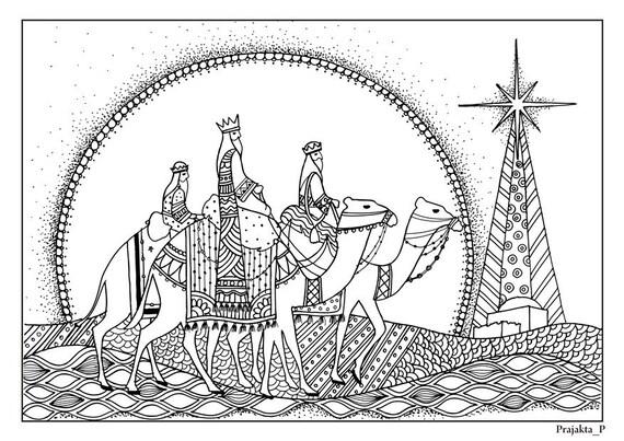 3 Reyes Magos Navidad para colorear página para adultos   Etsy