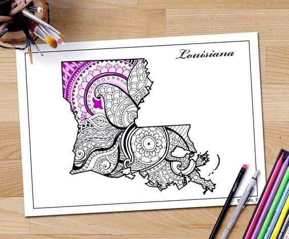 Estado de Louisiana adulto colorear página imprimible Julio 4 | Etsy