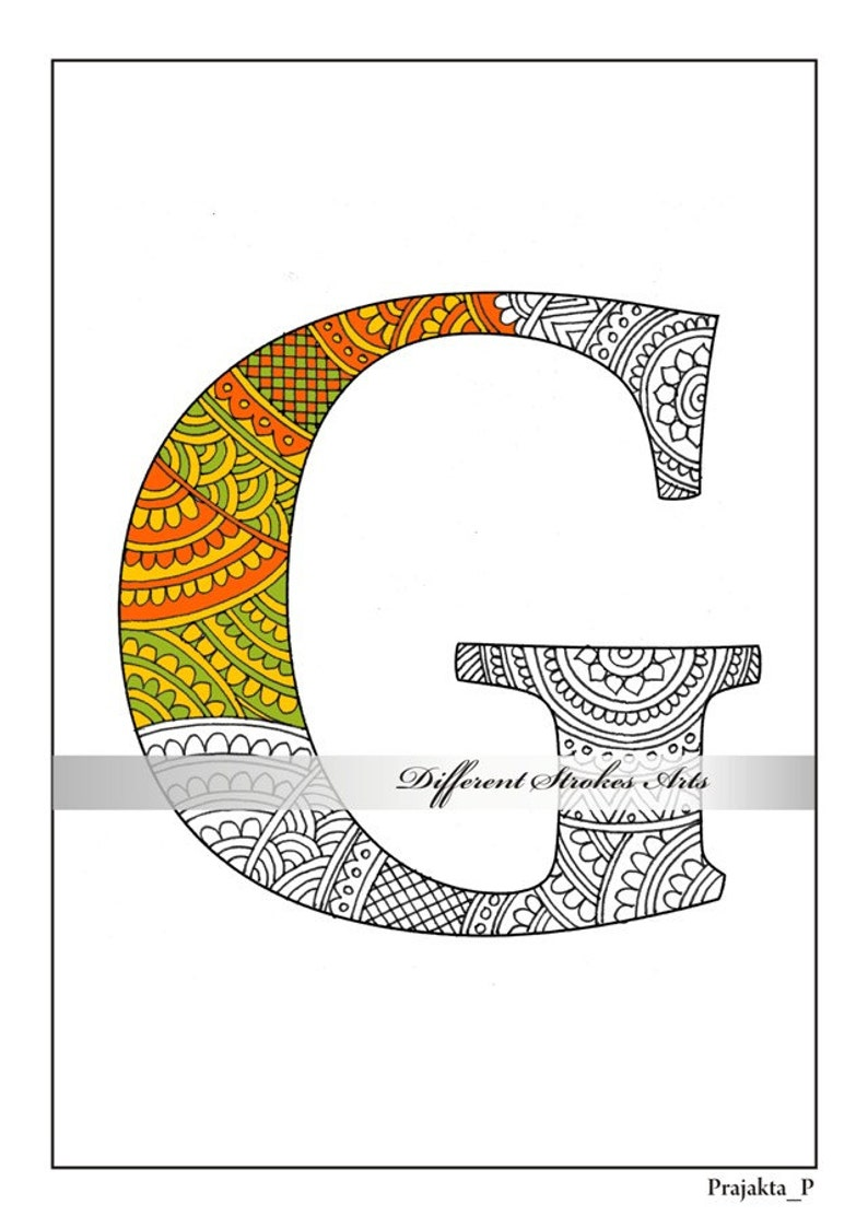 Zentangle alphabet coloring pages for adults letter g doodle coloring zentangle art letters zentangle monogram alphabet doodle download