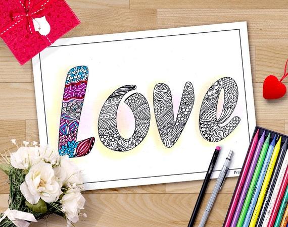 páginas para colorear de San Valentín para los adultos | Etsy