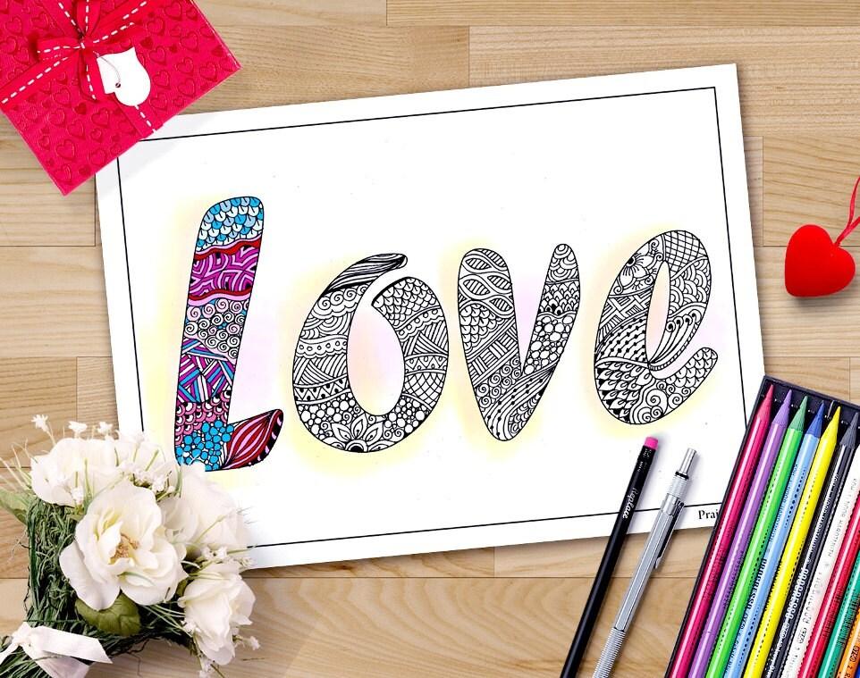 Valentin Malvorlagen für Erwachsene Zentangle Liebe Zeichen | Etsy