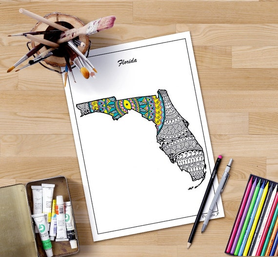 Florida map coloring page for adults, USA map art, Printable map of Florida  state, USA states coloring pages, patriotic printable art