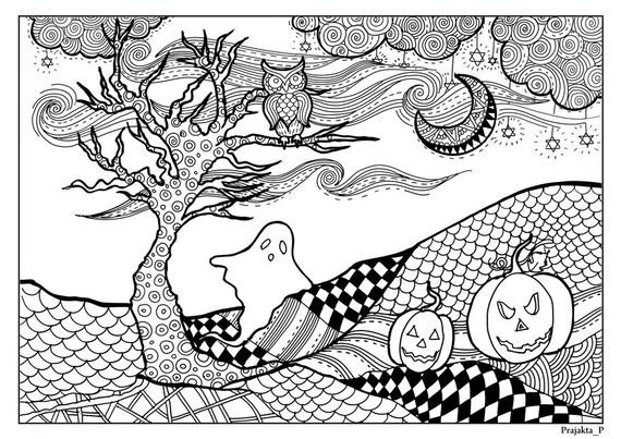 Kleurplaten Voor Volwassenen Halloween.Halloween Kleurplaten Voor Volwassenen Zentangle Halloween Kleurplaten Pagina Zwart En Wit Halloween Tekening Owl Pompoen Nachtbeeld Halloween