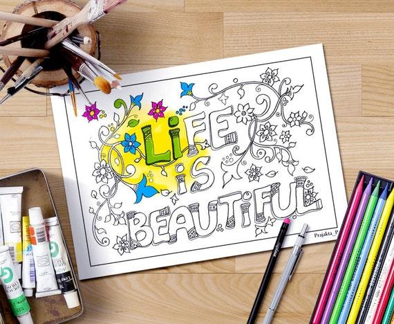 La vida es bella para colorear página adluts página doodle | Etsy