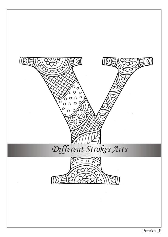 Zentangle Alphabet Malvorlagen Buchstaben Y, Henna Doodle ...