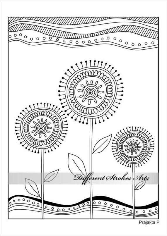 Flores para colorear página del libro para adultos dibujado a | Etsy