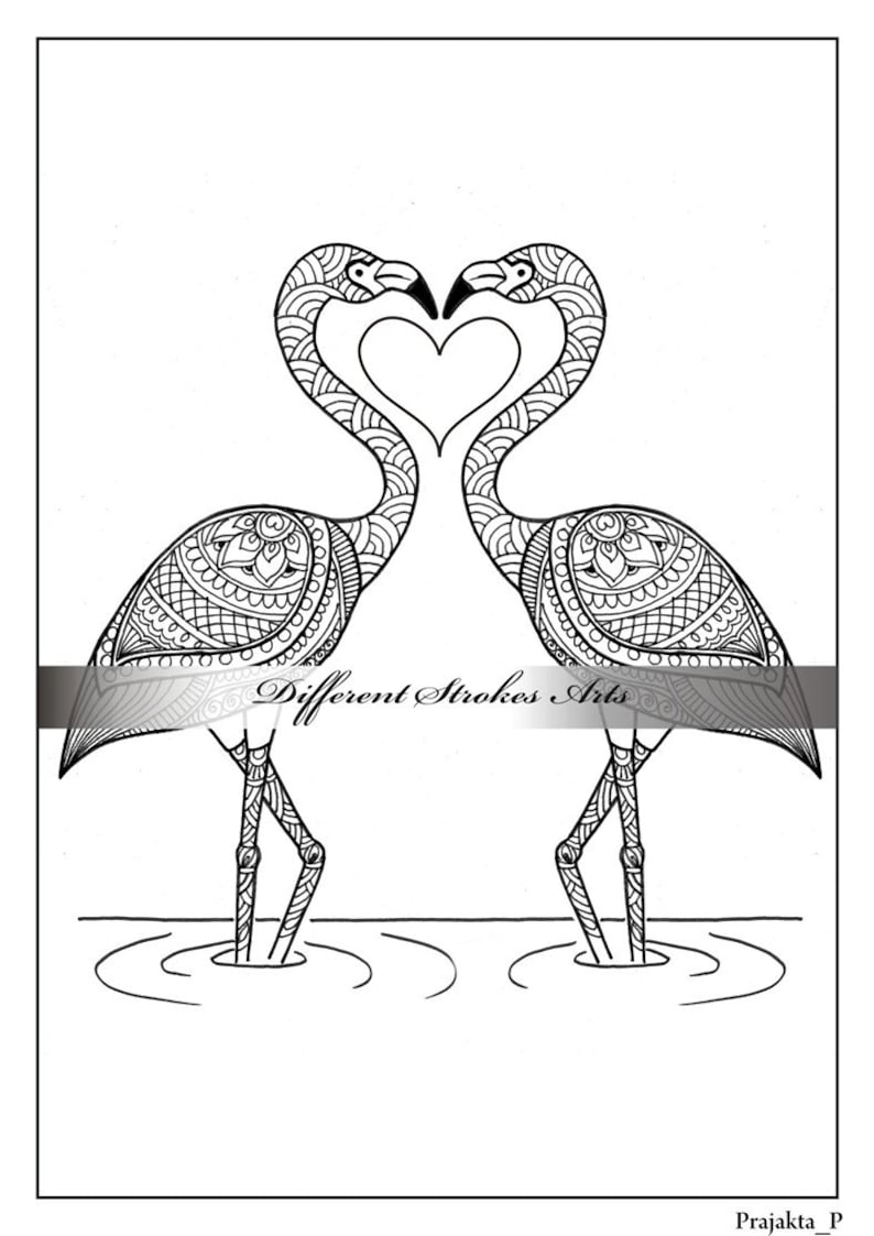 Valentines Day Printable Adult Coloring Pageflamingos Etsy