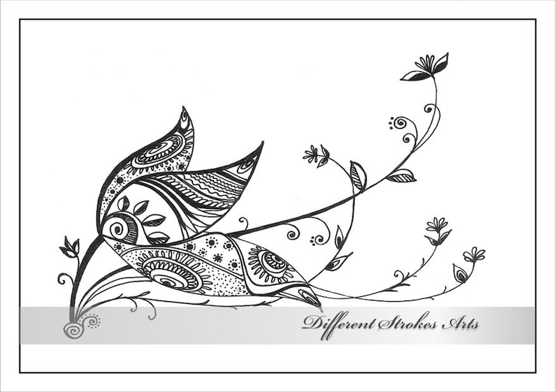 Printable Coloring Pages For Adults Henna Doodle Flower Etsyrhetsy: Henna Animal Coloring Pages At Baymontmadison.com