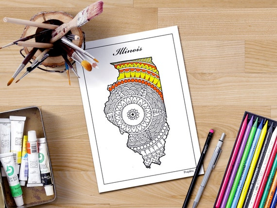 Illinois Map Usa Decorative Maps Coloring Page United States