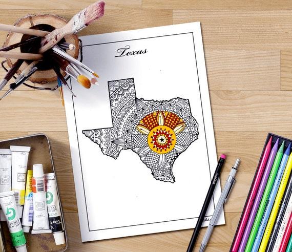 adulto para colorear mapas mapa de Texas Estados mapas para | Etsy