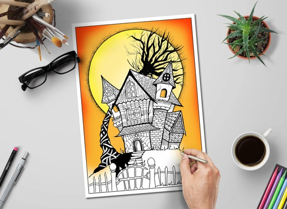 Haunted House Halloween Coloring Pages Printable Halloween Etsy