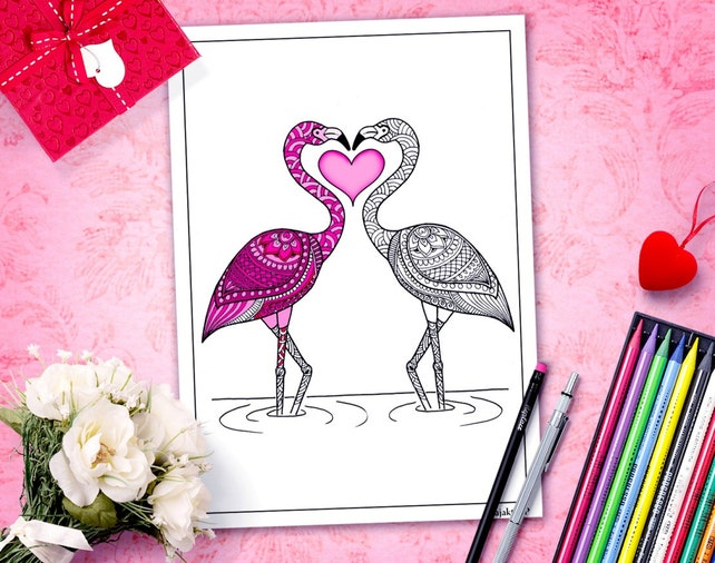 adulto para imprimir de San Valentín para colorear página | Etsy
