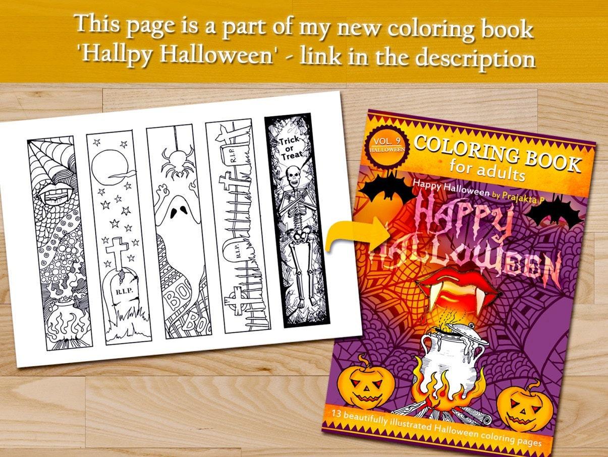 halloween lesezeichen erwachsene malvorlagen halloween  etsy