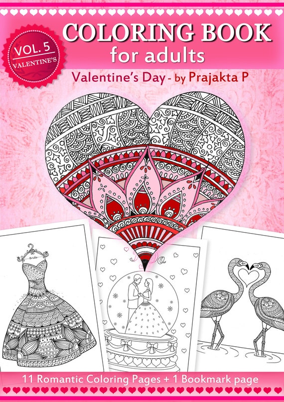 Adult Coloring Book For Valentines Day Zentangle Inspired Etsy