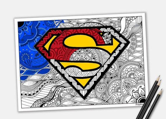 superman coloring page zentangle printable etsy