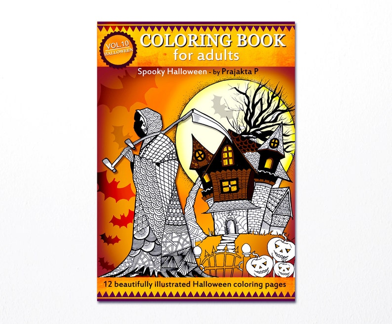 image regarding Spooky Halloween Coloring Pages Printable called Halloween coloring guide for older people, Spooky Halloween printable coloring ebook for adults, Zentangle Halloween, whimsical Working day of the Useless