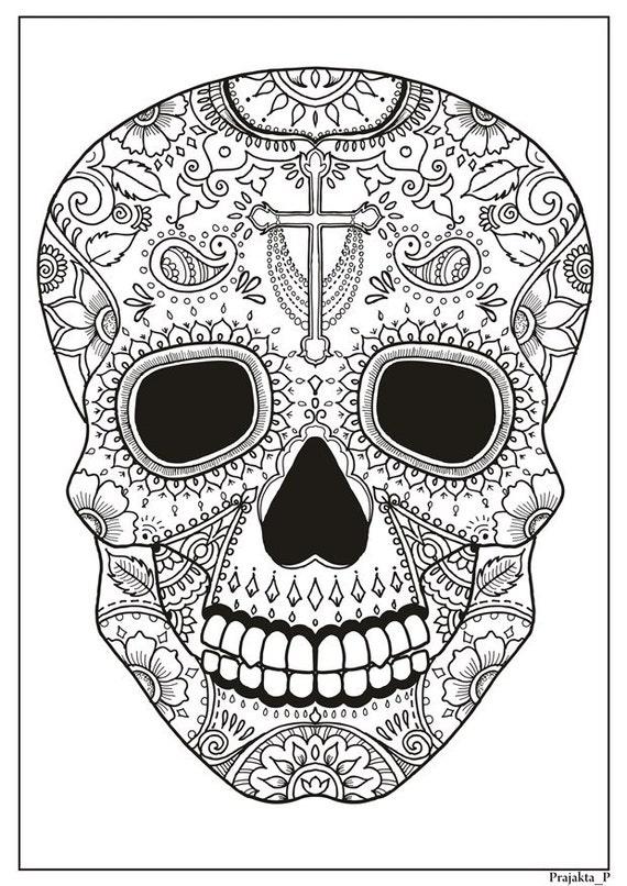 Calavera de azúcar imprimible para colorear página para | Etsy