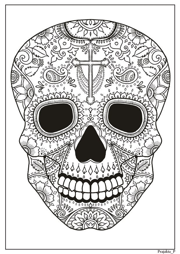 Sugar skull printable coloring page for adults Halloween ...