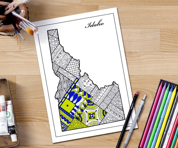 Mapa del estado de Idaho para colorear página para adultos | Etsy